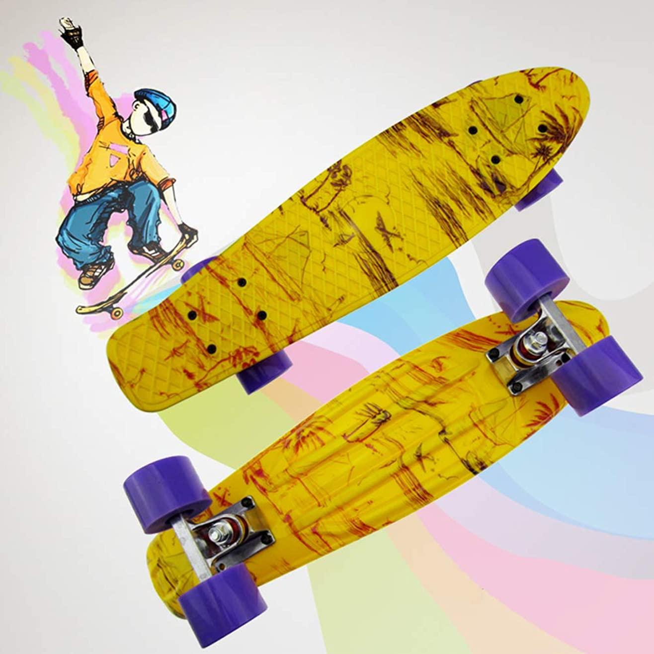 結婚変形する定義するレトロコンプリートクルーザースケートボード22インチ、4輪スケートボード、初心者向け,白