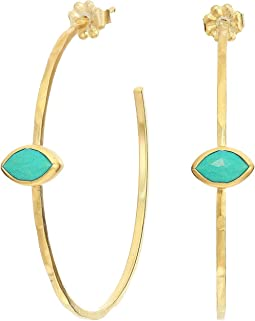 Semi-Precious Stone Hoop Earrings