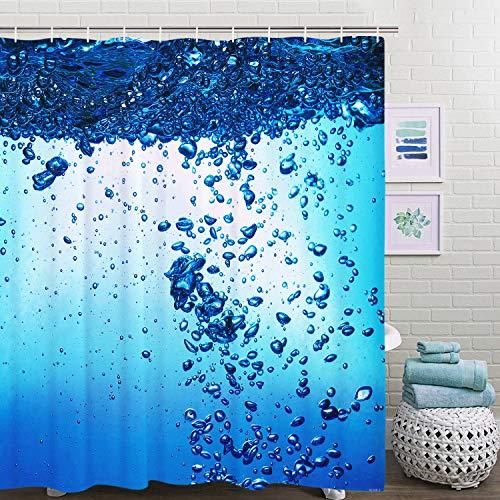 Elloevn Blau Meer Duschvorhang, Abwaschbar Textil Duschvorhänge für Kinder, Wasserdicht Stoffe Antischimmel Shower Curtain, 175x178 cm