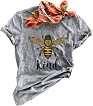 Koodred Women Summer Casual Bee Graphic Be Kind Letter Print Short Sleeve Crew Neck T Shirts Tee Tops