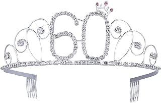 Frcolor Birthday Crowns Rhinestone Birthday Tiara Happy 60th Birthday for Mother or Grandmother