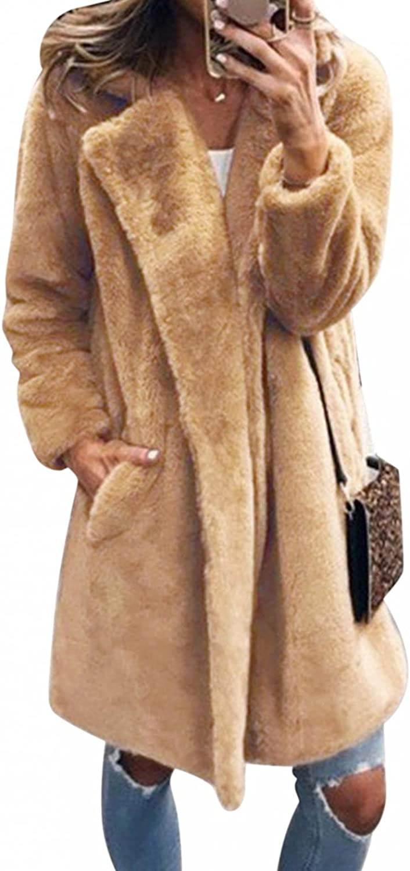 LEIYAN Womens Fuzzy Trench Coat Long Sleeve Heavyweight Casual Shaggy Fluffy Jackets Coats Warm Outerwear Streetwear