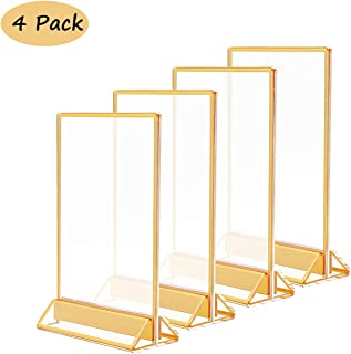 5x7 Acrylic Commercial Menu Holders with Gold Borders and Vertical Stand,Clear Double Sided Table Menu Card Holders Picture Frames for Wedding Table Number, Restaurant Signs, Photos Display,Pack of 4