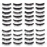 Premium Quality Make Up Beauty Set of 20 Pairs Black Classic Pin Up False Eyelashes/Fake Eye Lashes Set By VAGA