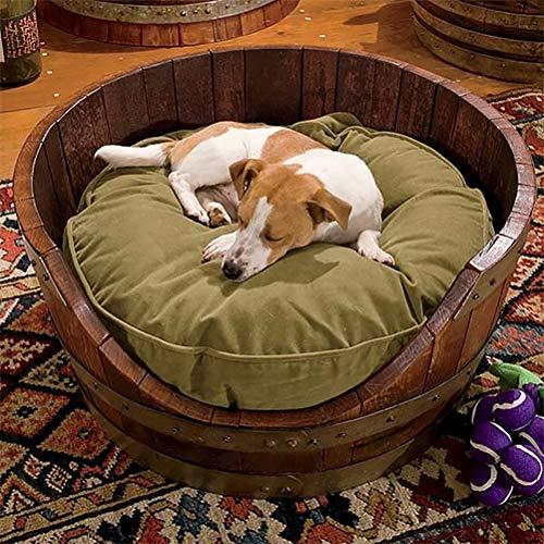 Zhyaj Hundebett L Drinnen Holz Vintage Weinfass Hundehaus Labrador Hundehütte Für Kleine Und Mittlere Hunde,Wood,L:45 * 50 * 15CM