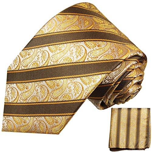 Cravate homme or marron paisley ensemble de cravate 2 Pièces ( longueur 165cm )