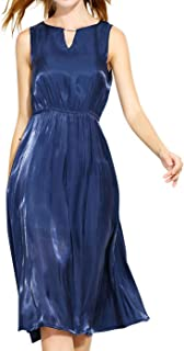 b38b3b708d1 Luna et Margarita Robe Chic Mi Longue Évasée Féminine Irisée Bleu Col Rond  sans Manche Fluide