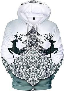 iZHH Mens Sweatshirt Pullover Hoodie Christmas Pattern Hooded Jumper Outwear Top