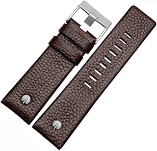Italian Calfskin Leather Watch Band Fit for Men's Diesel Watches Women's Soft Replacement Straps Wrinkled with Rivet 22/24...