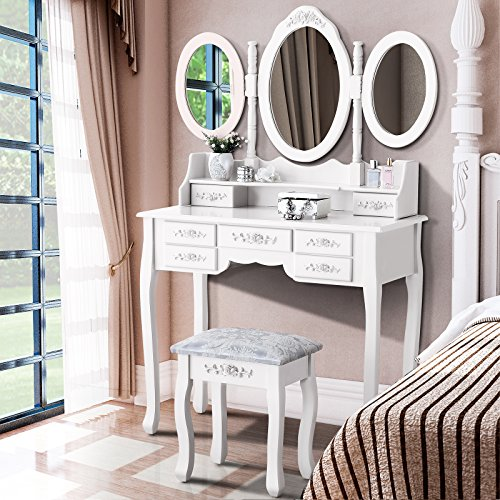 Mecor Vanity Makeup Table Set, Tri Folding Mirror Dressing Table