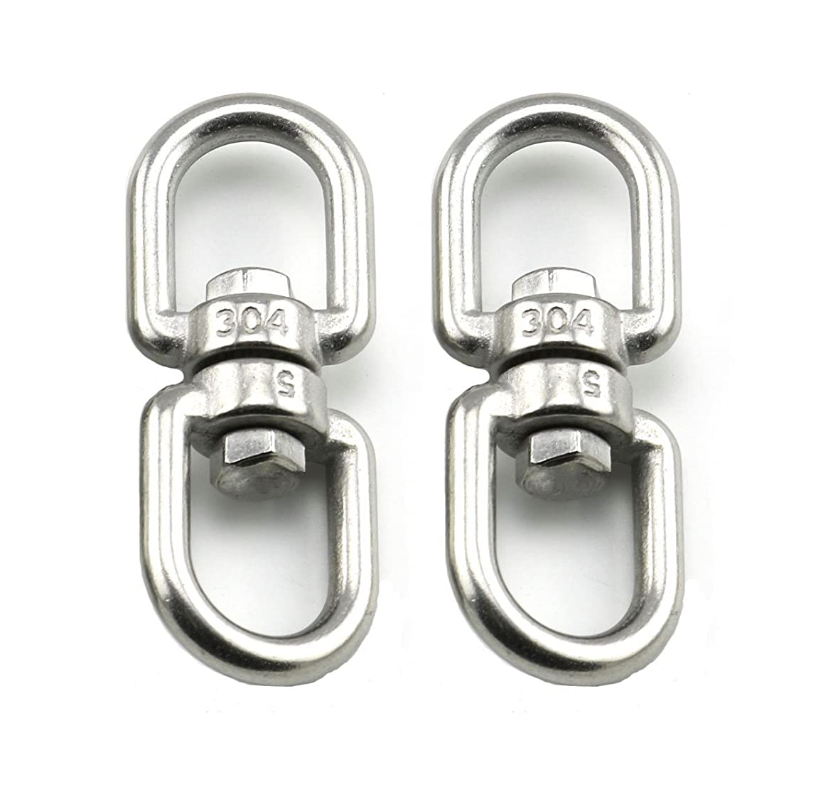 Lind Kitchen 2PCS M5 Double Ended Swivel Eye Hook 304 Stainless Steel Eye to Eye Swivel Shackle Ring Connector
