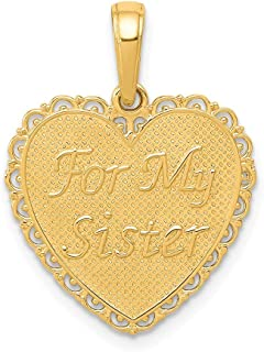 14k Yellow Gold For My Sister/we Are Forever Friends Pendant Charm Necklace Love Fine Jewelry For Women