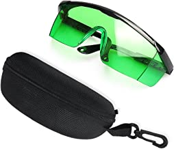Huepar GL01G Green Laser Enhancement Glasses - Eye Protection Safety Glasses for Green Laser Level, Rotary and Multi-Line Laser Tools - Goggles with Adjustable Temple (Protective Box Included)