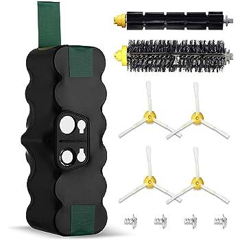 Powerextra Batería de Reemplazo para iRobot Roomba 4500mAh Ni-MH 14.4V Batería Series 510 530 535 540 550 560 570 580 610 760 770 780 800 870(con 1 par de cepillos de rodillos): Amazon.es: Hogar