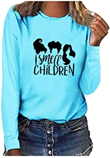 Winsummer Women's I Smell Children Shirts Women Cute Halloween Hocus Pocus Tshirt Long Sleeve Top Casual Tee Blouses