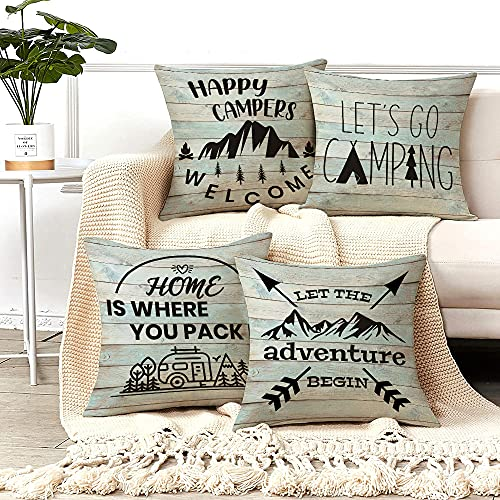 Camping Happy Camper Pillow Covers Decorative Throw Pillows RV Camper Dinette Cushion Covers Quotes Vintage Rustic Wood Throw Pillow Case for Home Living Room Travel Rv Camping Decor 18'x18' Set of 4