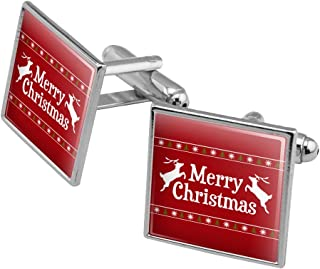 Merry Christmas Holiday Reindeer Square Cufflink Set - Silver or Gold