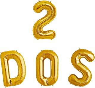 """32"""" DOS Balloons with Number 2   2nd Birthday Fiesta Decorations   Fiesta Two Year Birthday Party Supplies   Fiesta Taco T..."""