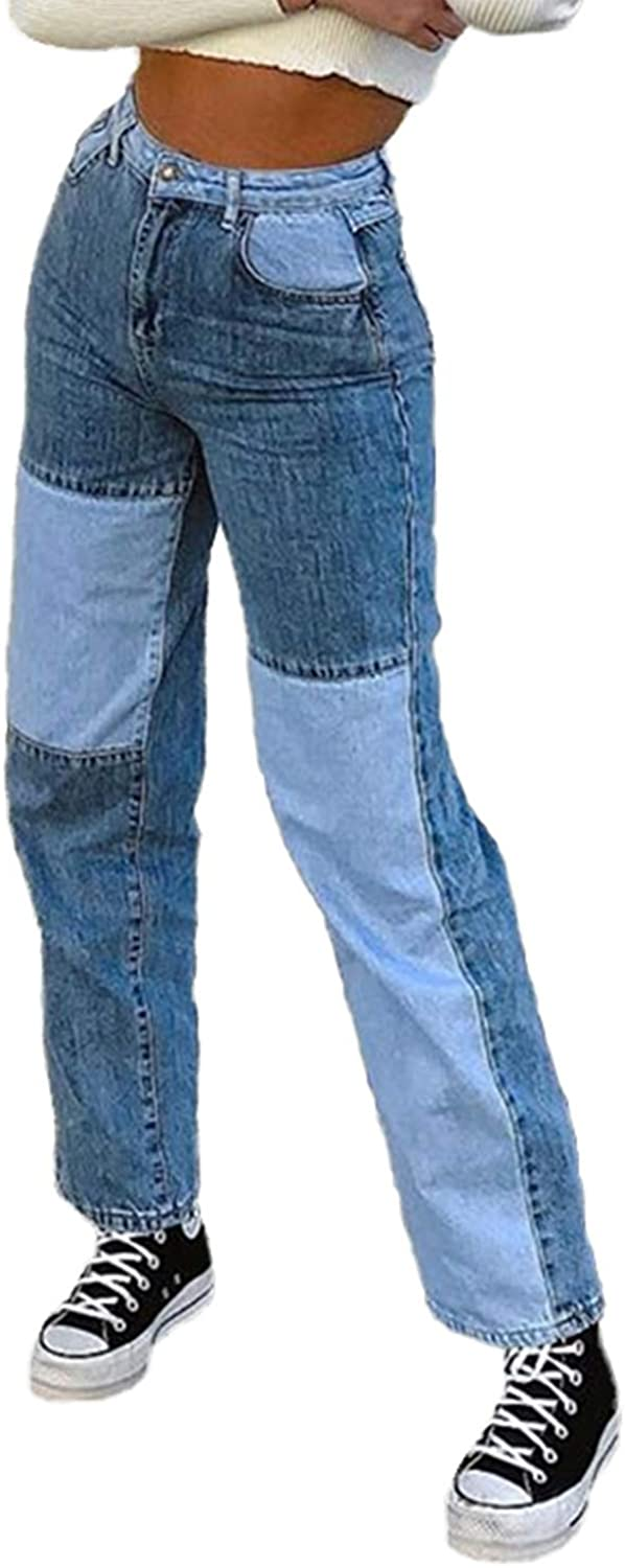 Women Patchwork Jeans High Max 74% OFF Popular product Waisted Stretch Leg Straight Denim Pa