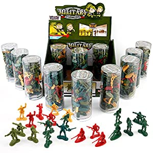 [Value Bundle] 12 Tubes of Action Figures Army Men Soldiers in Mini Buckets Bulk Party Favors Supplies