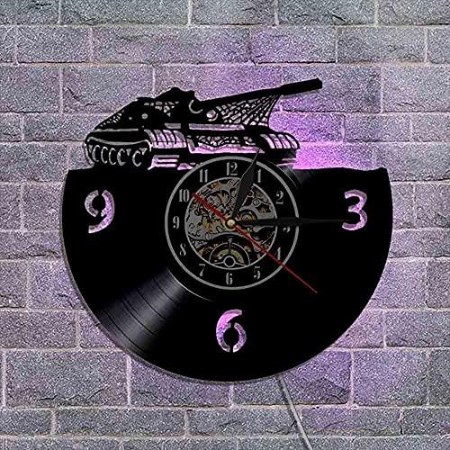 30cm Disco de vinilo Reloj de pared Tanque Pantalla de luz LED Reloj de pared Sala de estar Retro Vintage Modelo creativo Reloj creativo Regalo del día de los niños 7 Cambio de color Arte de la pare
