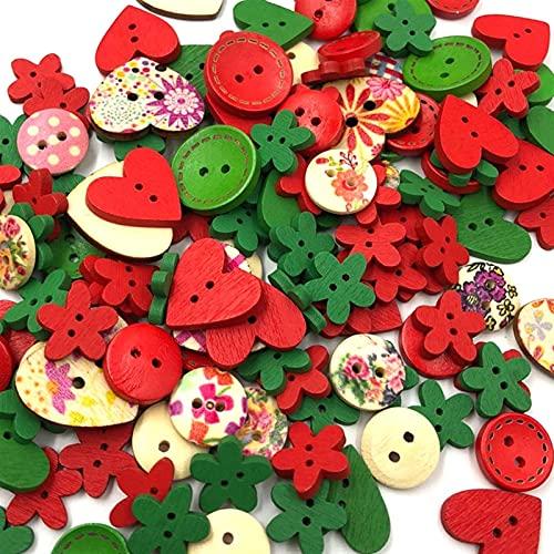 FengFZ 混色木製ボタンミシンボタン子供のスクラップブッキングDIYクラフト結婚式の装飾(クリスマス)新年のランダムなスタイル (Color : Color 3)
