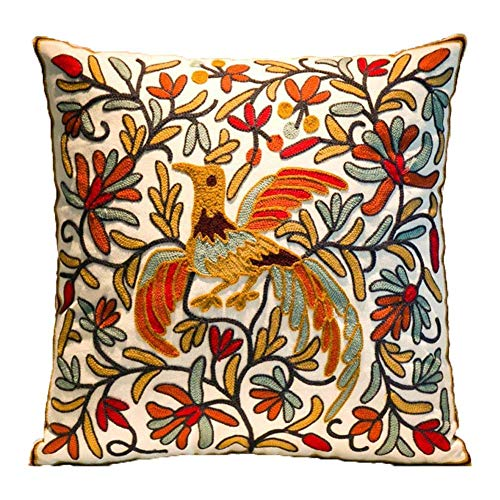 ZUODU 45cmx45cm Embroidered Cotton Decorative Throw Pillow Cover Cushion Case Pillow Case (Bird cushion)