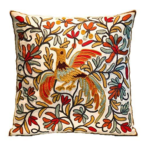 ZUODU 45cmx45cm Embroidered Cotton Decorative Throw Pillow Cover Cushion Case Pillow Case (Bird cushion)