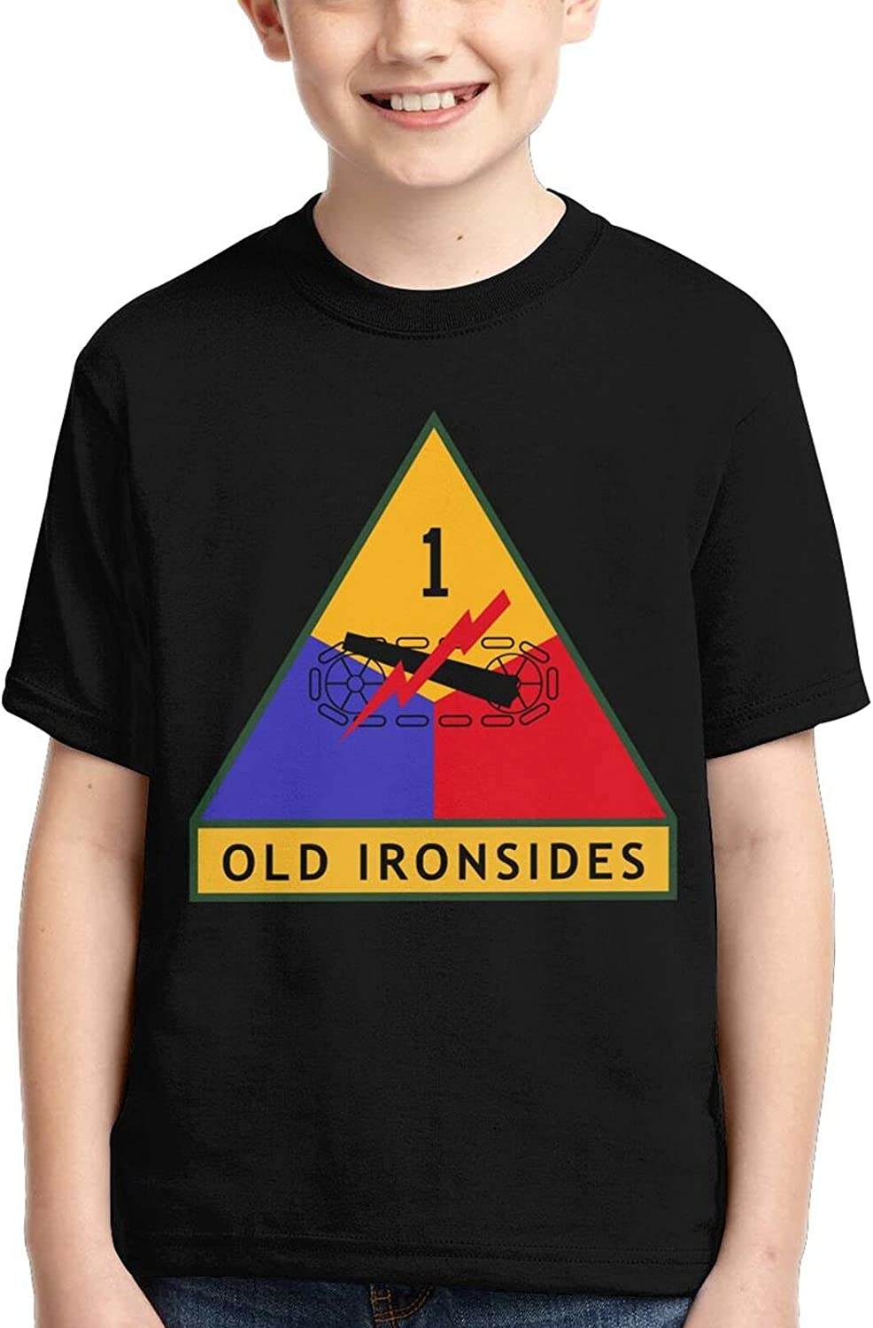 Army Old Ironsides Veteran 1st Armored Division Boys Kid Youth Tshirt Tee Casual Tee Cool T Shirt