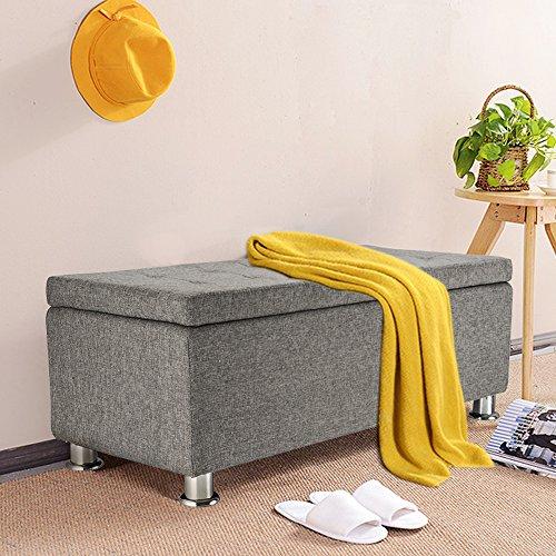 Panana Regalsystem Sitzhocker 102 x 42 x 46 cm, Sitzcube als Fußablage, aus Leinen, belastbar bis 300 kg Aufbewahrungsbox - Grau