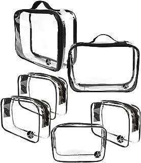JAVOedge (6 PCS SET: 2 qty x Large Size, 4 qty x Small Size) Clear PVC Cosmetic Makeup Organizer, Travel Toiletry Bag
