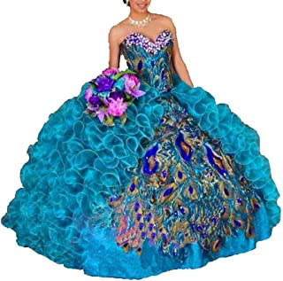 Women's Peacock Embroidery Ball Gown Organza Quinceanera Dress
