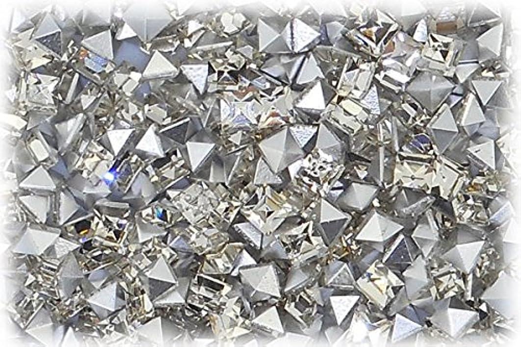 文献ここにめんどりSHAREKI CRYSTAL Vカット チャトン ラインストーン スクエア 四角形 クリスタル 3mmx3mm 10個入りx3セット=30個 cry-3x3