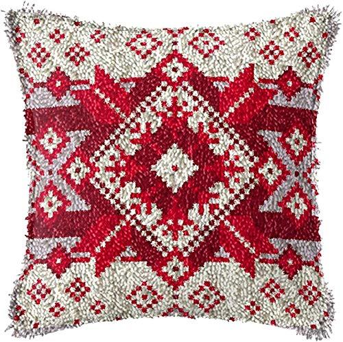 QAZWSX Crochet Kit Weihnachtshandwerk Latch-Haken-Kit, Latch-Haken-Kits for Anfänger, DIY-Kissenbezug Häkeln-Garn unfertige Häkeln-Sofa-Kissenbezug, 43 × 43cm handgefertigt (Color : B)