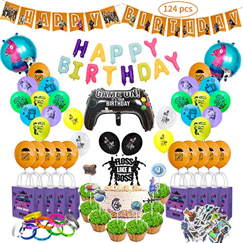 Video Game Party Supplies Includes Cake and Cupcake Topper, Latex Balloons, Foil Balloons, Bracelets, Gift Bags, Stickers, Happy Birthday Banner for Kids. (Party Supplies)