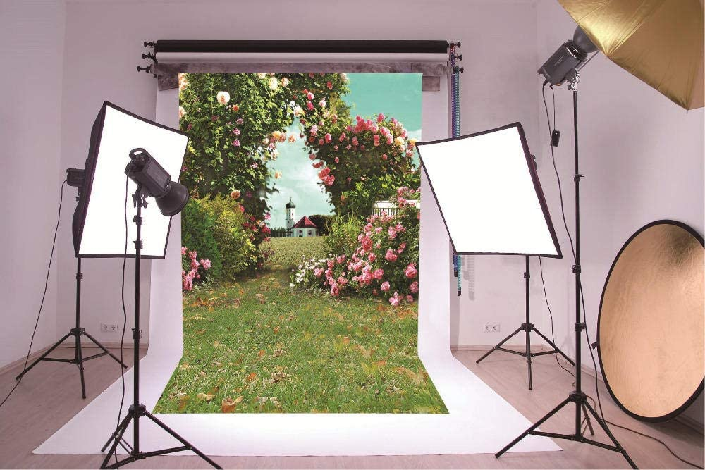 Photophones Background Real Backdrop Scenic Flower House Grass Flower Photozone Customize Banner Seamless Photozone Custom Backdrop Large Format Printing Digital Backdrop for Product Photo Outdoor