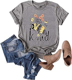 JTJFIT Women Flower Bee Kind T-Shirt Graphic Shirt Tees Short-Sleeved Girls T-Shirt Top, Dark Gray, XXX-Large