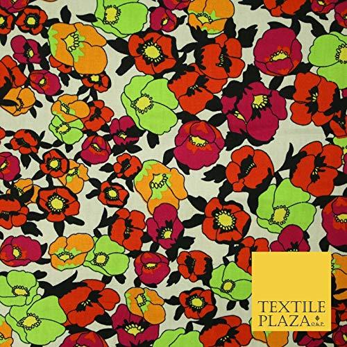 Tela de popelina de algodón estampado tribal floral 100% estampado marfil negro 59 pulgadas 5537 muestra (10 cm x 10 cm)