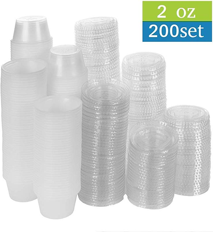 TashiBox 200 Pack Of 2 Ounce Disposable Plastic Jello Shot Cups With Lids Souffle Portion Container 2 Oz 200 Sets Clear