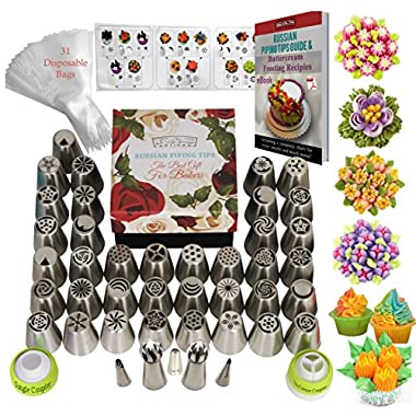 DELUXE Russian Piping Tips Icing tips Frosting tips Cake Decorating Supplies 77pcs Baking Supplies Set 42 Frosting Icing Nozzles +31 Baking Pastry Bags+ 2 Sphere Ball Tips GIFT Box Cake Decorating Kit