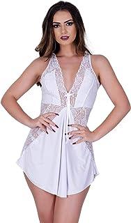 Camisola IMI Lingerie Sexy Com Calcinha Em Microfibra E Renda Bianca Branca