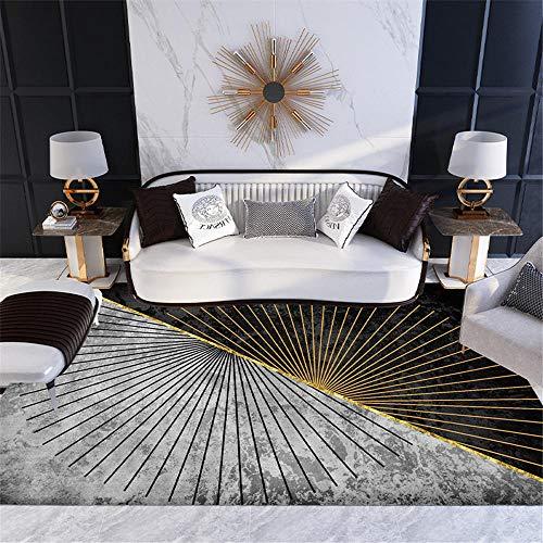 Kunsen Sofas de Salon Grandes Comedor Salón Dormitorio Alfombra Rectangular Suave Gris Negro Dorado Centro de Mesa Decorativo Comedor 180X200CM 5ft 10.9' X6ft 6.7'