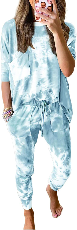 Dokotoo Womens Tie Dye Print Pajama Sets Long Sleeve Tops and Pants Pocketed Pjs Joggers Sleepwear Loungewear