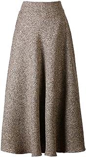 PERSUN Women's High Waist Flared Woolen A-Line Winter Long Skirt w/Pockets