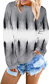 Lylinan Womens Pullover Sweatshirts Casual Crew Neck Tie Dye Color Block Loose Long Sleeve Tops