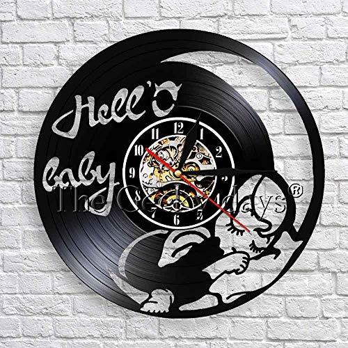 wtnhz LED-Hola bebé Cita Arte de la Pared decoración Reloj Dormir bebé soñando en la luz de la Luna Reloj de Pared de Vinilo jardín de Infantes decoración de Pared Arte