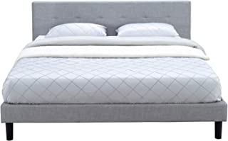 MUSEHOMEINC Upholstered Platform Bed, Linen Tufted Headboard with Wooden Slat Support,No Boxspring Needed, Grey Finish, King