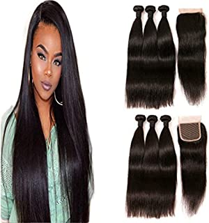 Peruvian Remy Human Hair Straight Bundles With Closure Indian Free Part Lace Front Closure Cheap Human Hair Dark Brown 22 24 26 +20 Inches