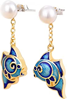 Chinese Style Good Luck Cloisonné Fish Pearl Earring
