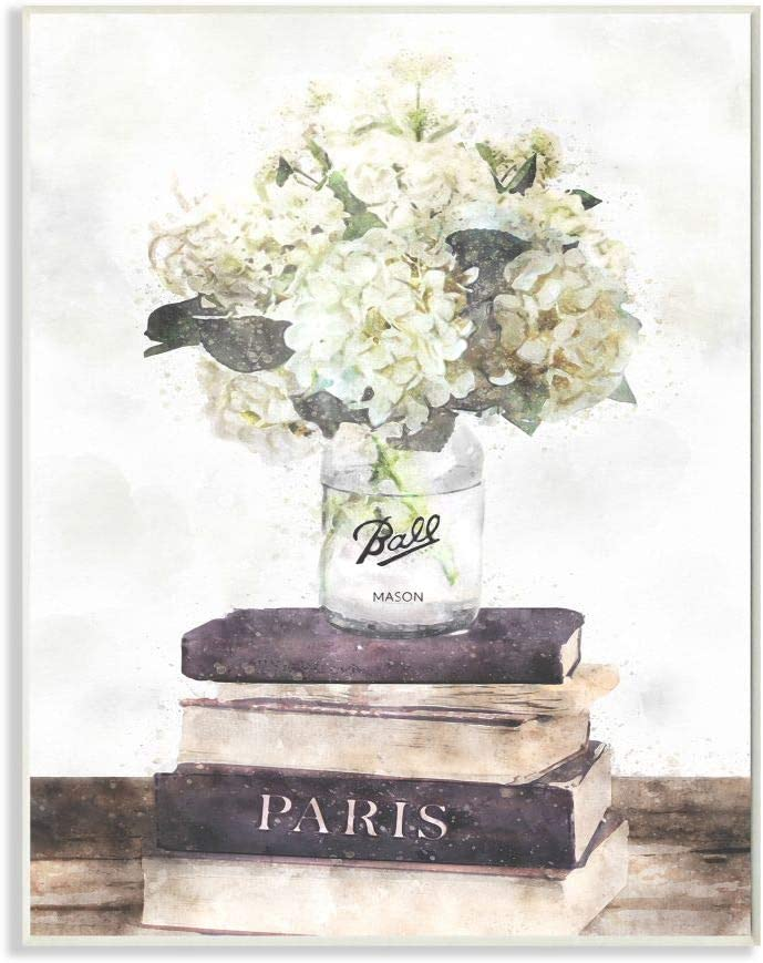 Stupell Industries Delicate 時間指定不可 White アイテム勢ぞろい on Florals Bookstack Parisian